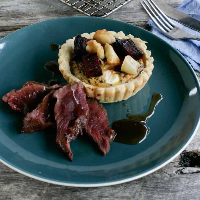 wallaby and beetroot tart